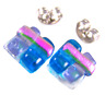 "Tiny DICHROIC GLASS EARRINGS Post 1/4"" 10mm Pink Blue Purple Rock Candy Fused"