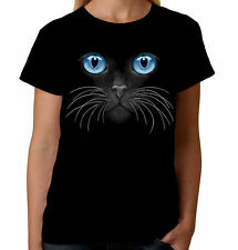 Velocitee Ladies Blue Eyes Cat Face T-Shirt Fashion Feline Kitty Cute W10669