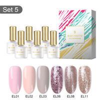 6Bottles/Set Rose Gold Series UV Gel Nail Art Sequins GEL Nail Polish Tips DIY