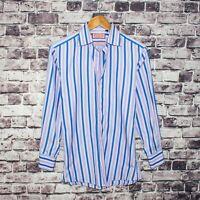 Thomas PINK Slim fit Men's Button Front Dress Shirt Blue Pink Striped Size 15