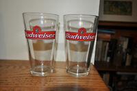 Pair of Budweiser Pint Beer Glass 2 Anheuser Busch Glasses Barware NICE NR!