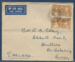 Northern Rhodesia 1937 sg 23 4d rate Air Mail Cover PM MANKOYA 12 Aug 37