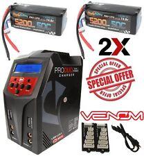 Powerhobby 4S 14.8V 5200mAh 50C Lipo Battery Soft 2 pack w Venom 80w Duo Charger