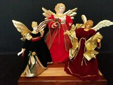 """Three Vintage Christmas Angels, 12"""", and 9"""" - Velvet-Like Gowns"""