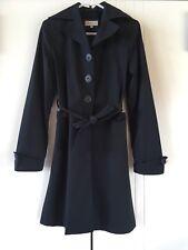 Womens Paul Frank Black Tailored Botton Cuffs Tie Waist Trench Coat Size S