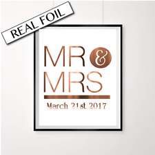 Personalised Copper Engagement or Wedding Print Sign / Mr and Mrs Custom date