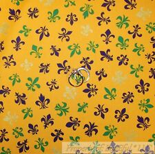 BonEful Fabric FQ Cotton Quilt Yellow Purple Green Fleur De Lis Gold Metallic US