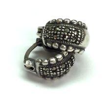 Vintage Oxidized Sterling Silver Marcasite Cluster Dotted Huggie Hoop Earrings