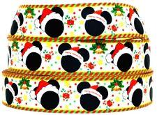 "Grosgrain Ribbon Ribbon 7/8"" & 1.5"" Christmas Minnie & Mickey Mouse Printed."