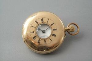 Antique 14ct Solid Gold Half Hunter Pocket Watch - c.1900's