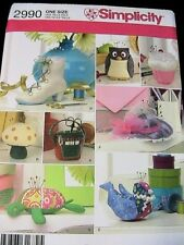 SEW BASKET~owl~BIRD~Mushroom~TURTLE~Boot~CUPCAKE~hat PINCUSHIONS~Simplicity 2990
