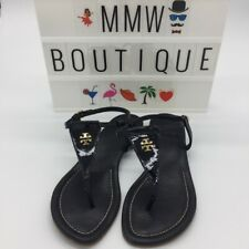Tory Burch Britton Flat Thong Sandals In Black Size 7.5