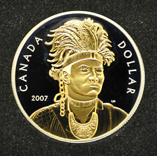 2007 Canada Proof Silver Dollar with Gold Plating - Thayendanegea