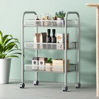 Kitchen Mesh Wire Basket Rolling Cart Storage Cart Wheels Shelving Metal US Stoc