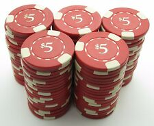 Set of (100) 3 Stripe Red $5 Poker Chips 7-gram Clay FREE SHIPPING *