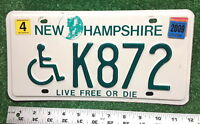 NEW HAMPSHIRE - 2009 Wheelchair HANDICAPPED license plate - tough state