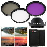 58mm UV CPL FLD Filter Kit + Lens Hood for Canon Rebel T5i T4i T3i T2i T3 LF136