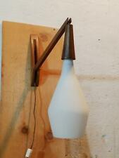 Mid Century Modern Teak Frosted Glass Teardrop Pendant Lamp Wall Hanging Sconce