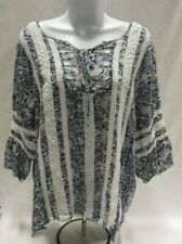 Women's Size 18/20 Blue and White Avenue 3/4 Sleeve Top