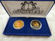 Garfield Paws Collectible Coin Enamel  painted 1 oz  .999  Silver rounds 2 coin
