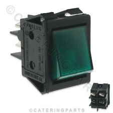 SW60 UNIVERSAL GREEN ILLUMINATED 2 POLE ROCKER POWER SWITCH 30mm x 22mm 16A 250V