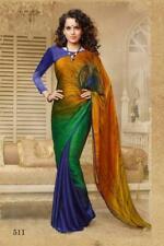 Multi Indian Saree Sari Bollywood Peacock Print Designer Crepe Silk Party Wear