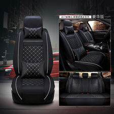 5 Seat Car PU Leather+Comfort Mesh Seat Cover Front+Rear Black/White w/Pillow
