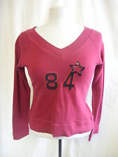 Ladies Top - Evie, 10/12, red, v neck and back, well worn/bobbly/used - 7840