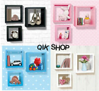Set of 3x Wall Hangings Cubes Shelves Shelving Floating Wall Cubes Display Unit