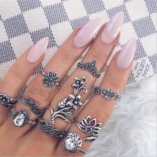 Boho 10Pcs Women Vintage Lotus Crystal Hollow Out Finger Ring Set Jewelry Cheap