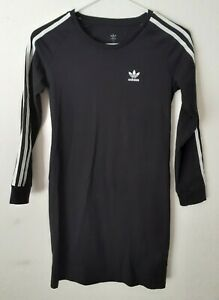 Adidas trefoil womens 3 stripe longsleeve tshirt dress size small black