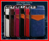 Card Holder Leather Vertical Flip Case Retro Cover Mobile Phone Wallet Pouch NEW
