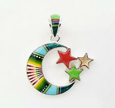 Unique Multicolor Tuerquoise Spiny Inlay .925 Sterling Silver Moon Stars Pendant