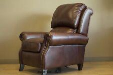Barcalounger Churchill II Double Fudge Top Grain Leather Manual Recliner Chair