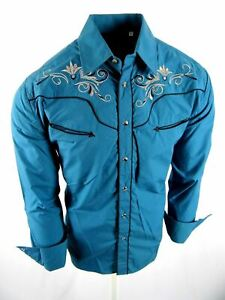 Rodeo Brand Western Shirt Mens Turquoise Floral Embroidery Pockets Snap Up Cuffs