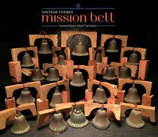 21 BRONZE FORBES MISSION BELLS, Vtg Old Brass Antique California Church Souvenir
