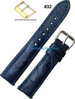 Genuine OSTRICH Skin Leather Watch Strap Band Handmade NAVY BLUE 20mm - 24mm #32