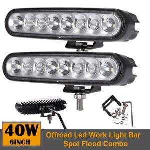 2x 6 inch 40W LED Work Light Bar Combo Driving Fog Offroad Car SUV 4WD Truck ATV