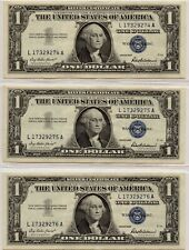 SERIES 1957 $1 SILVER CERTIFICATES CONSECUTIVE APPEAR UNCIRC. PLEASE SEE SCANS.