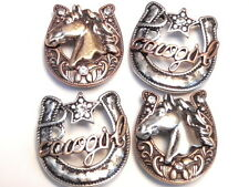 "4 - 2 HOLE BEADS CLEAR CRYSTAL HORSESHOE ""COWGIRL"" & HORSE HEAD MIXED METALS"
