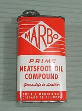 MARBO BL Marder Prime Neatsfoot Oil Compound Vintage Empty 8 oz Tin Can FREE S/H