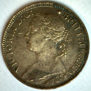 1881 Great Britain Bronze Farthing Coin You Grade Circulated Victoria Ruler