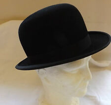 Original Vintage Gentlemen's Black Bowler Hat By Moores Size 6 7/8 Small (2408)