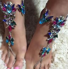 Color Jeweled Barefoot Sandals Wedding Foot Bling Vacation jewelry Bridal Anklet