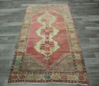 Vintage Hand Knotted Ethnic Runner Rug Anatolian Turkish Oriental Carpet 4x8 ft.