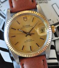 Tudor by Rolex Prince OysterDate Watch 14K Gold Bezel Dial Serviced Runs Looks +