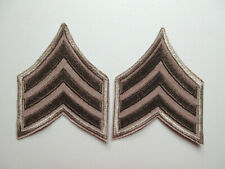 SERGEANT MILITARY SECURITY OFFICER RANK STRIPES PATCHES (BROWN / BROWN)