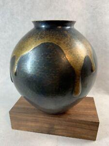 """Japanese Antique Vintage Copper Hand Hammered Handmade Vase """"Gyokusendo"""""""