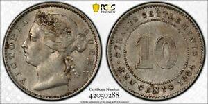 Straits Settlements QV 10 cents 1884 crosslet 4 about uncirculated PCGS AU58