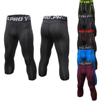 Mens Compression 3/4 Pants Under Shorts Base Layers Dri fit Bottoms Printed Cool